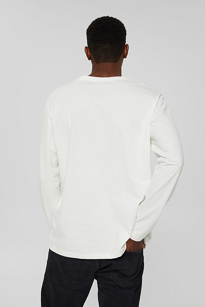 Jersey longsleeve van biologisch katoen, OFF WHITE, detail image number 3
