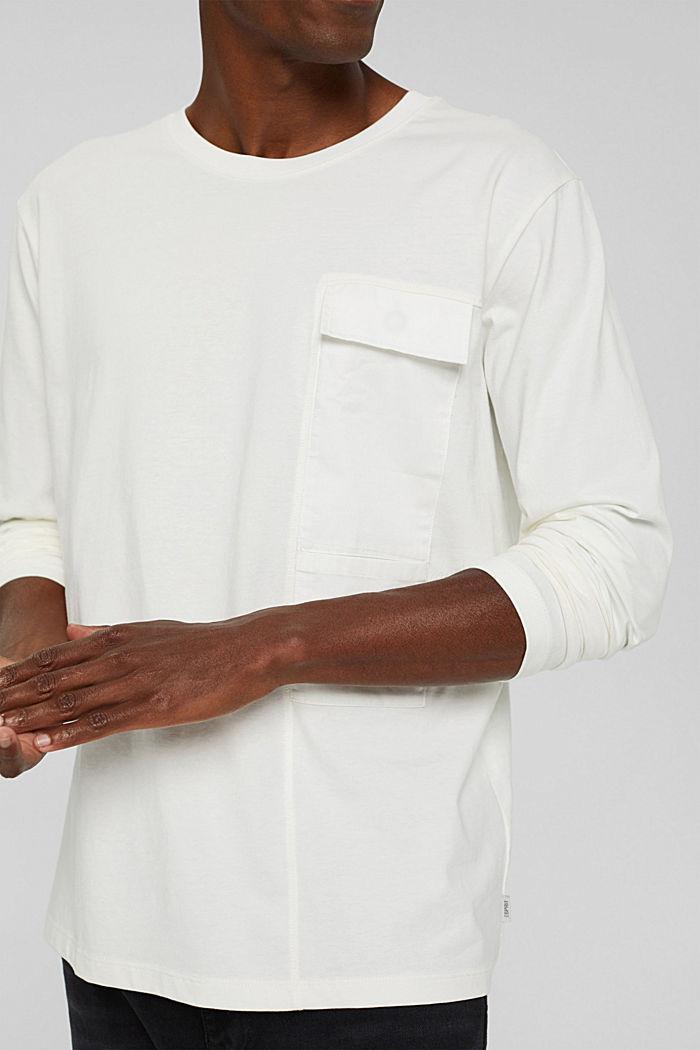 Jersey longsleeve van biologisch katoen, OFF WHITE, detail image number 1