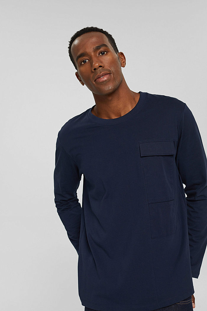 Jersey long sleeve top in organic cotton, NAVY, detail image number 0