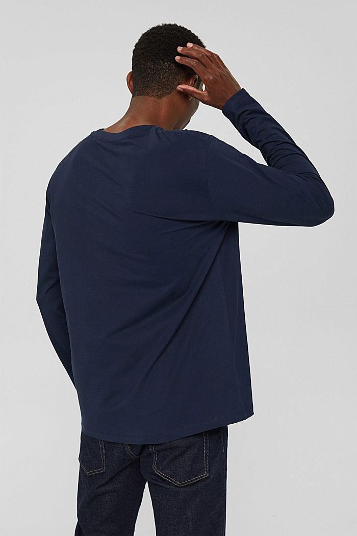 Jersey long sleeve top in organic cotton, NAVY, detail image number 3