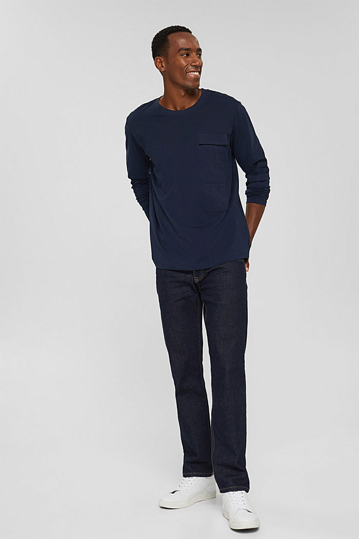 Jersey long sleeve top in organic cotton, NAVY, detail image number 7