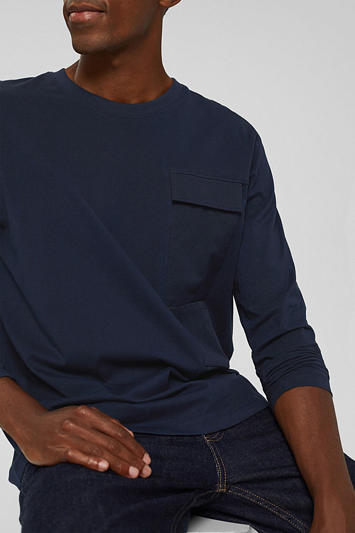 Jersey long sleeve top in organic cotton, NAVY, detail image number 1