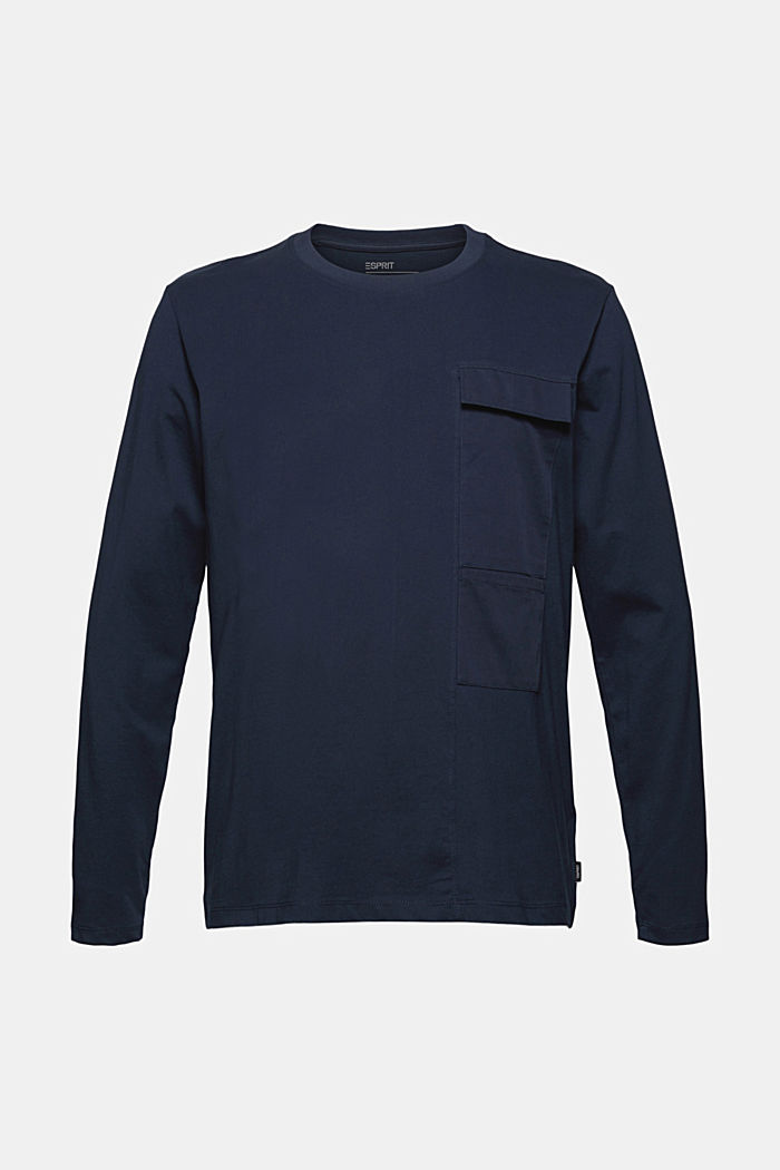 Jersey long sleeve top in organic cotton, NAVY, detail image number 6