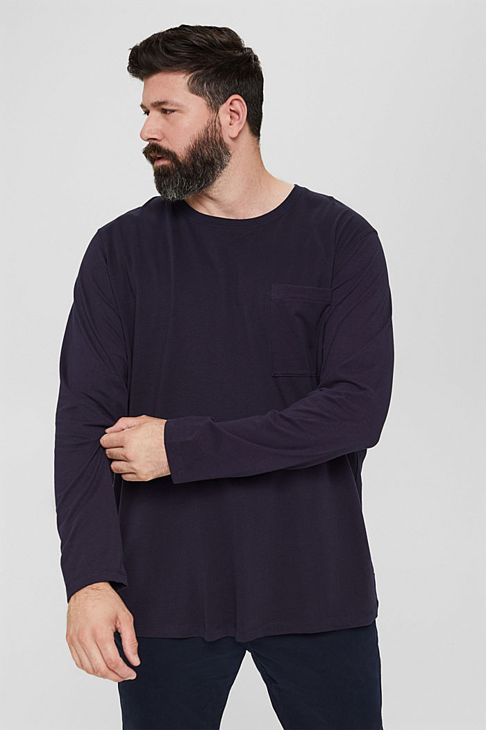 Jersey long sleeve top in 100% organic cotton, NAVY, detail image number 0