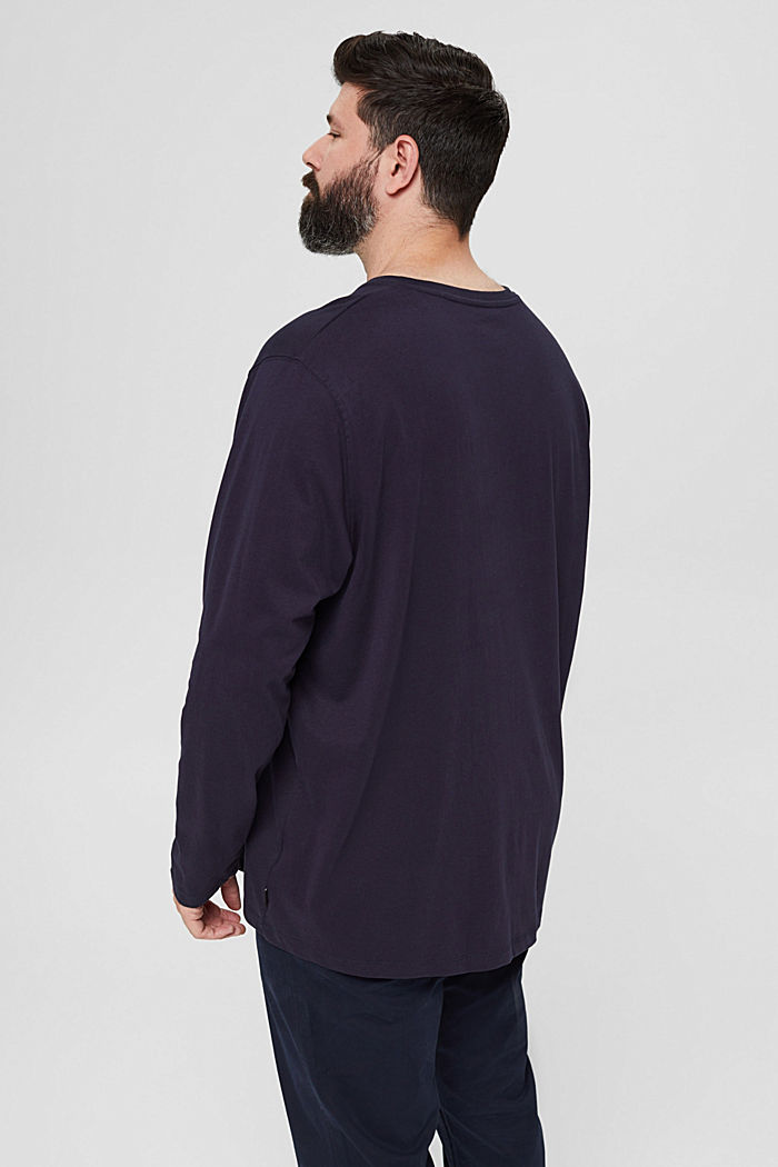 Jersey long sleeve top in 100% organic cotton, NAVY, detail image number 3