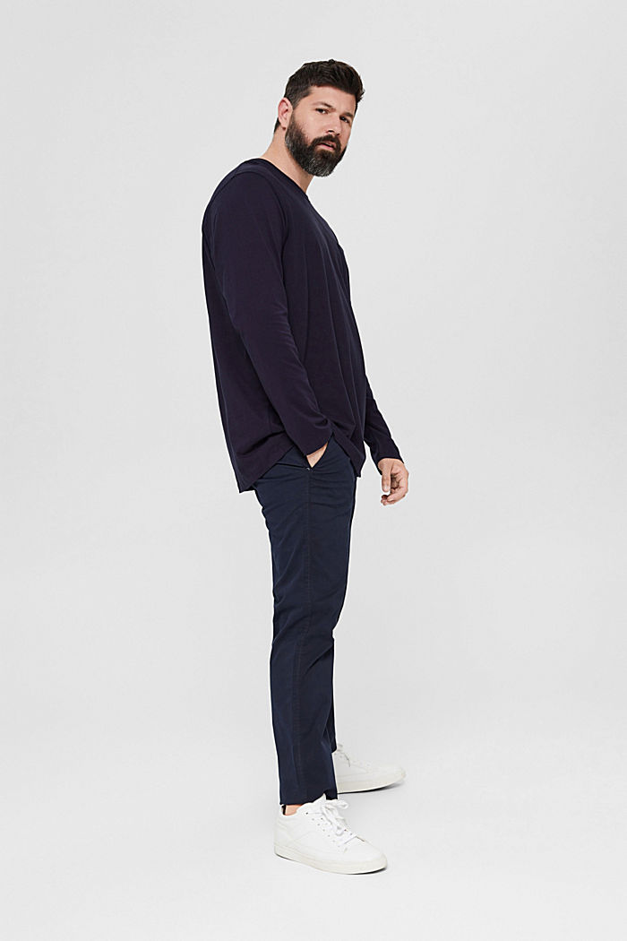 Jersey long sleeve top in 100% organic cotton, NAVY, detail image number 6