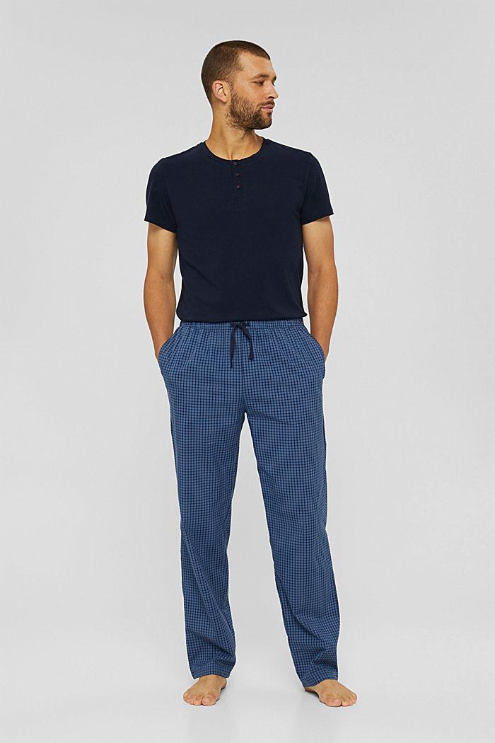 Lange pyjamabroek van 100% biologisch katoen, NAVY, detail image number 0