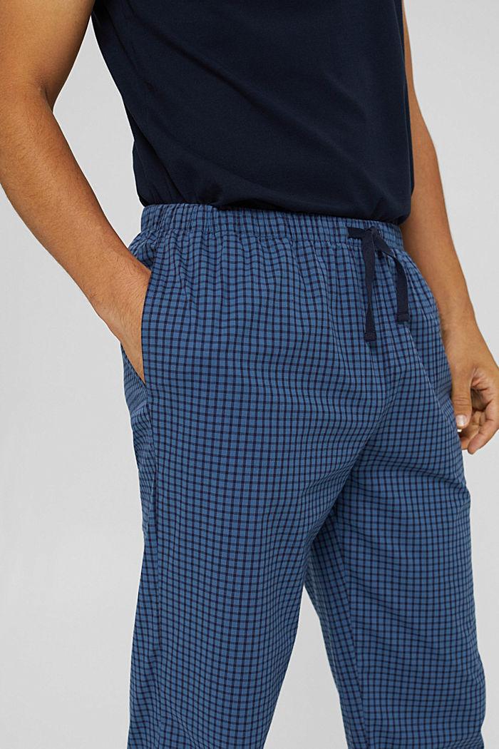 Lange pyjamabroek van 100% biologisch katoen, NAVY, detail image number 3