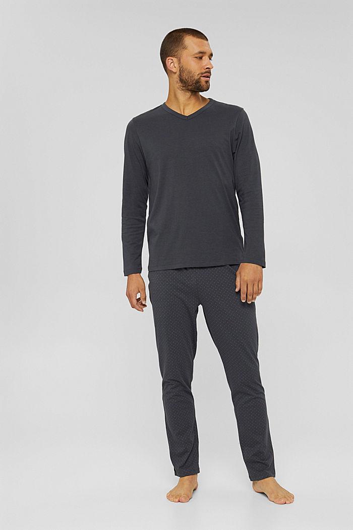 Pyjama van 100% biologisch katoen, DARK GREY, detail image number 1