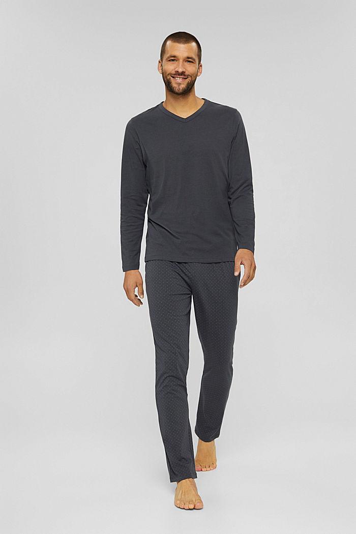 Pyjama van 100% biologisch katoen, DARK GREY, detail image number 0