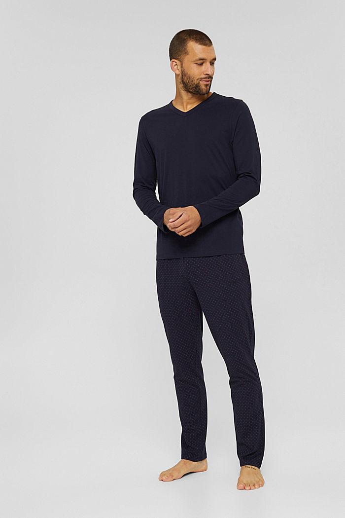 Pyjama aus 100% Bio-Baumwolle, NAVY, detail image number 0
