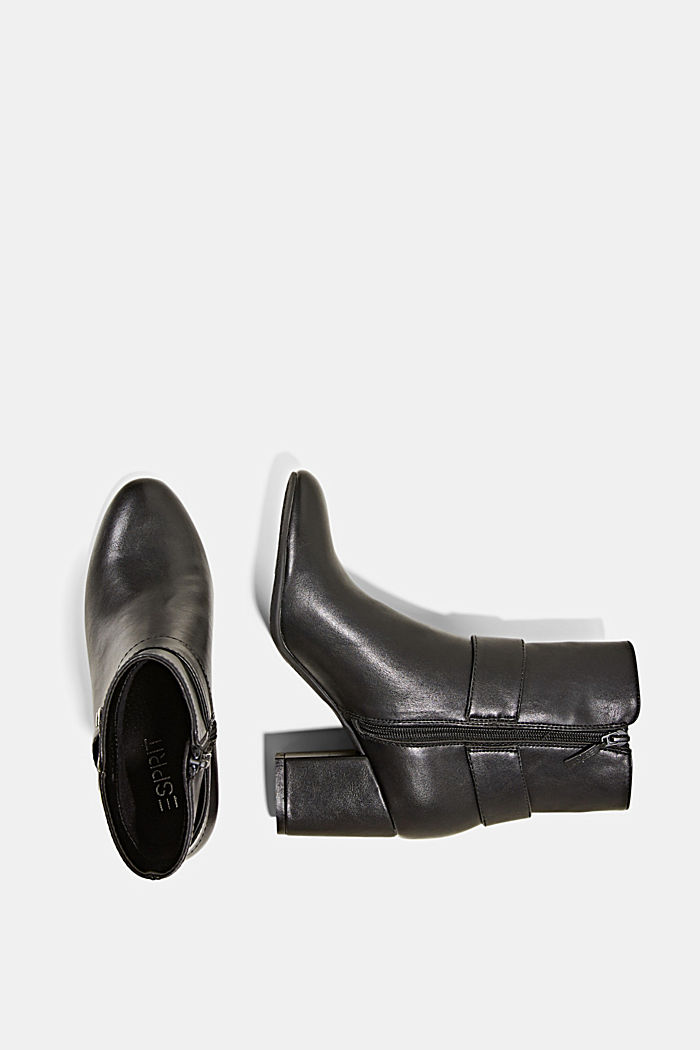 Ankle boots with a buckle in faux leather, BLACK, detail image number 1