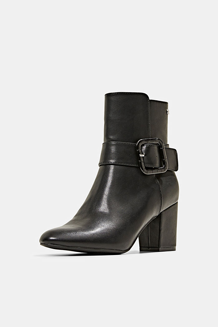 Ankle boots with a buckle in faux leather, BLACK, detail image number 2