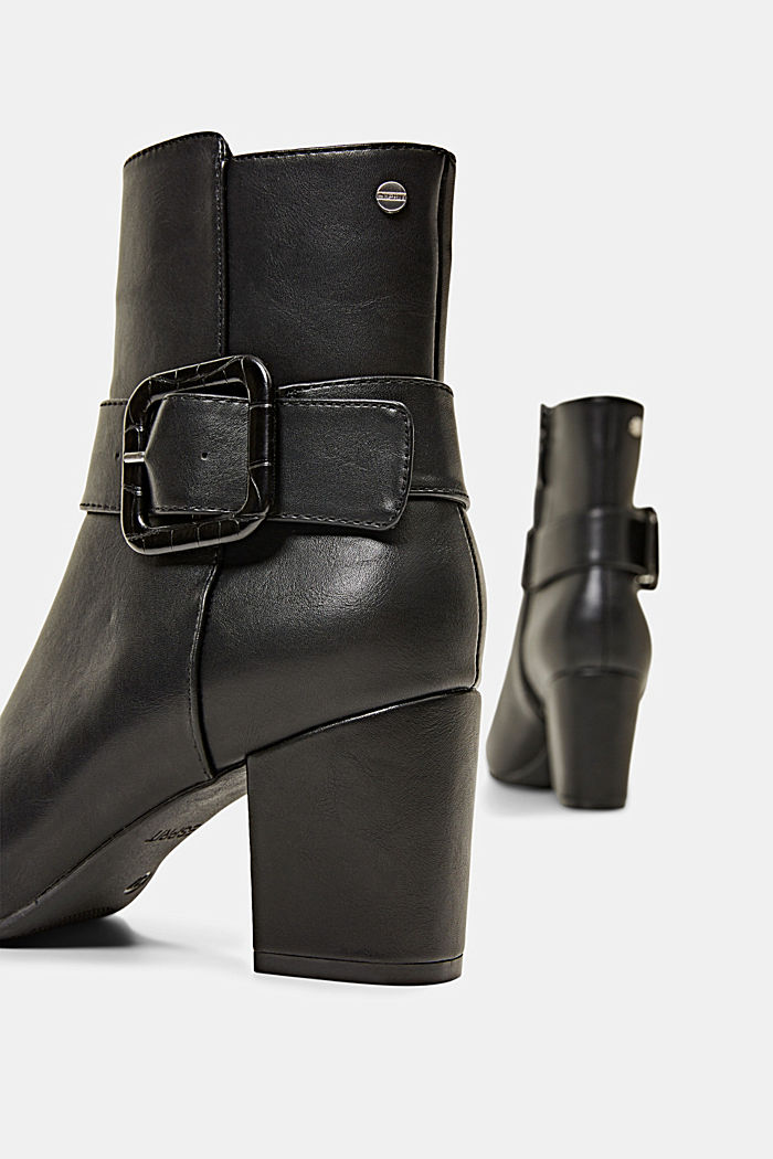 Ankle boots with a buckle in faux leather, BLACK, detail image number 5