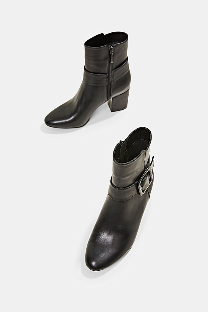 Ankle boots with a buckle in faux leather, BLACK, detail image number 6