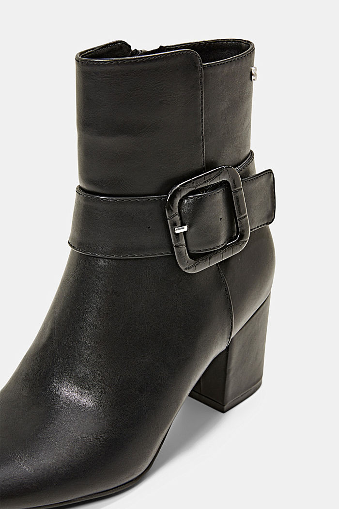 Ankle boots with a buckle in faux leather, BLACK, detail image number 4