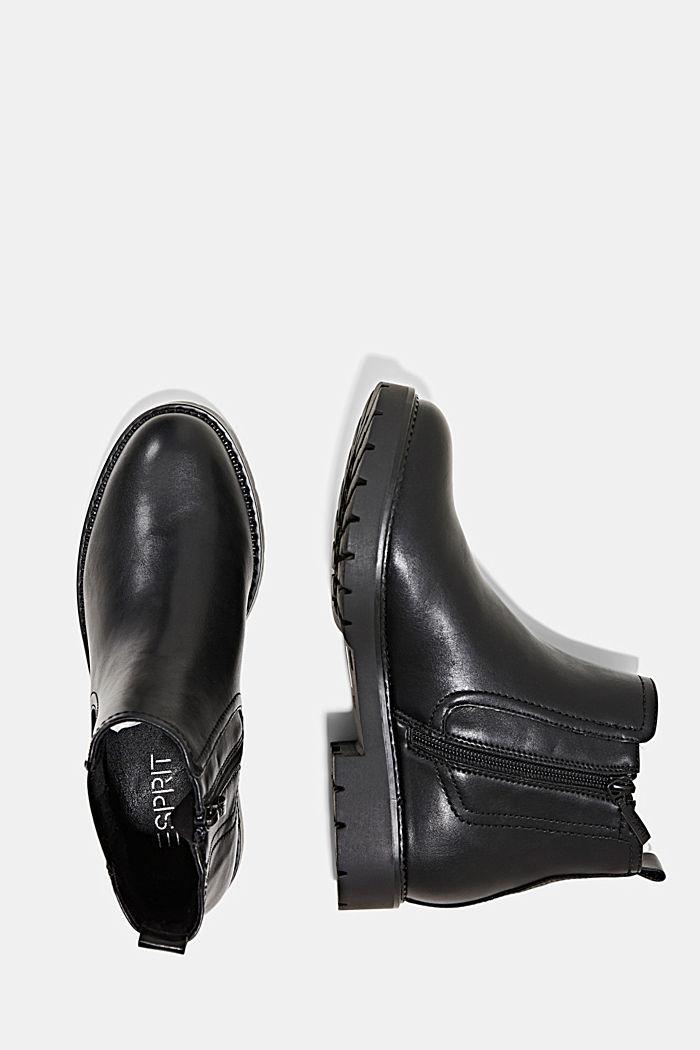 Chelsea-Boots mit Zipper in Lederoptik, BLACK, detail image number 1