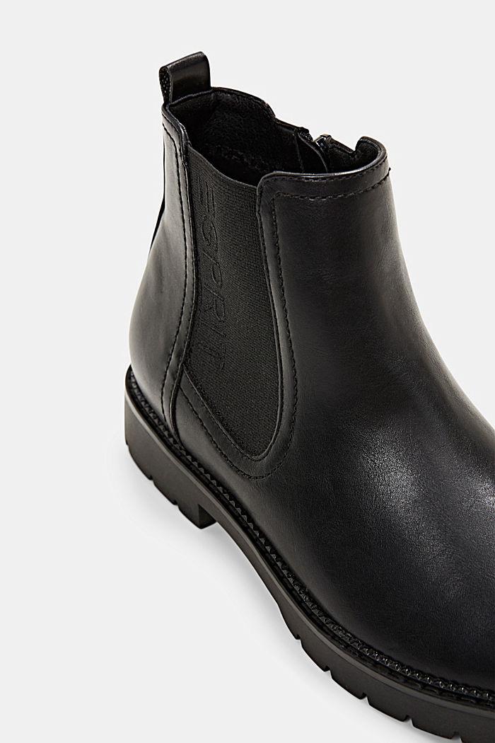 Chelsea-Boots mit Zipper in Lederoptik, BLACK, detail image number 4
