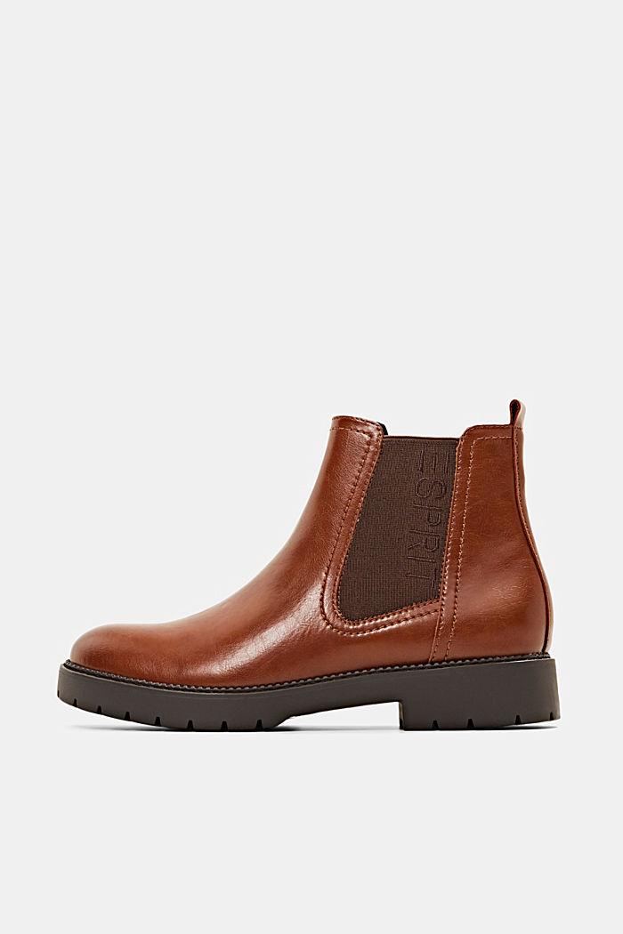 Imitatieleren Chelsea boots met rits, CARAMEL, detail image number 0
