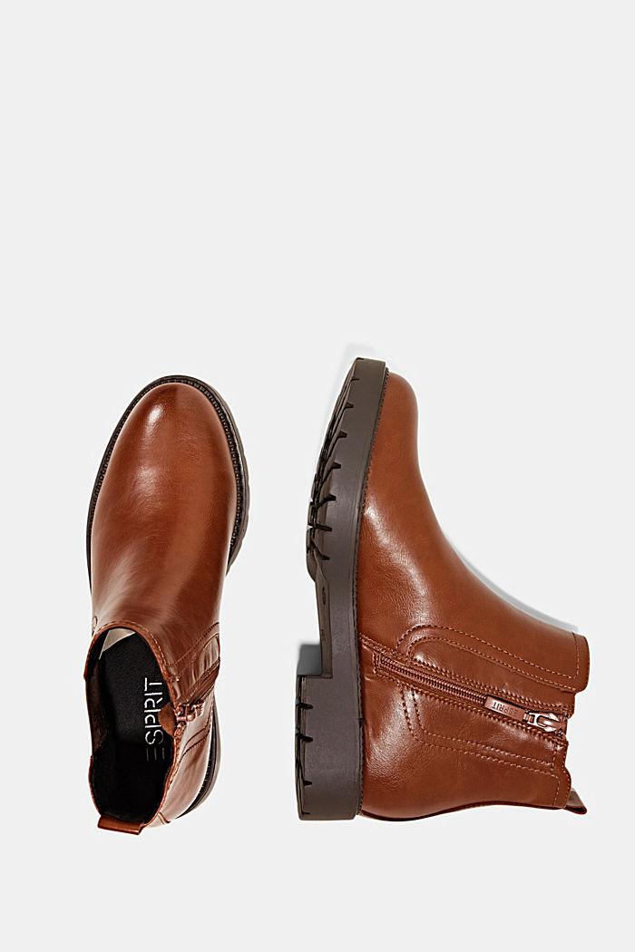 Imitatieleren Chelsea boots met rits, CARAMEL, detail image number 1
