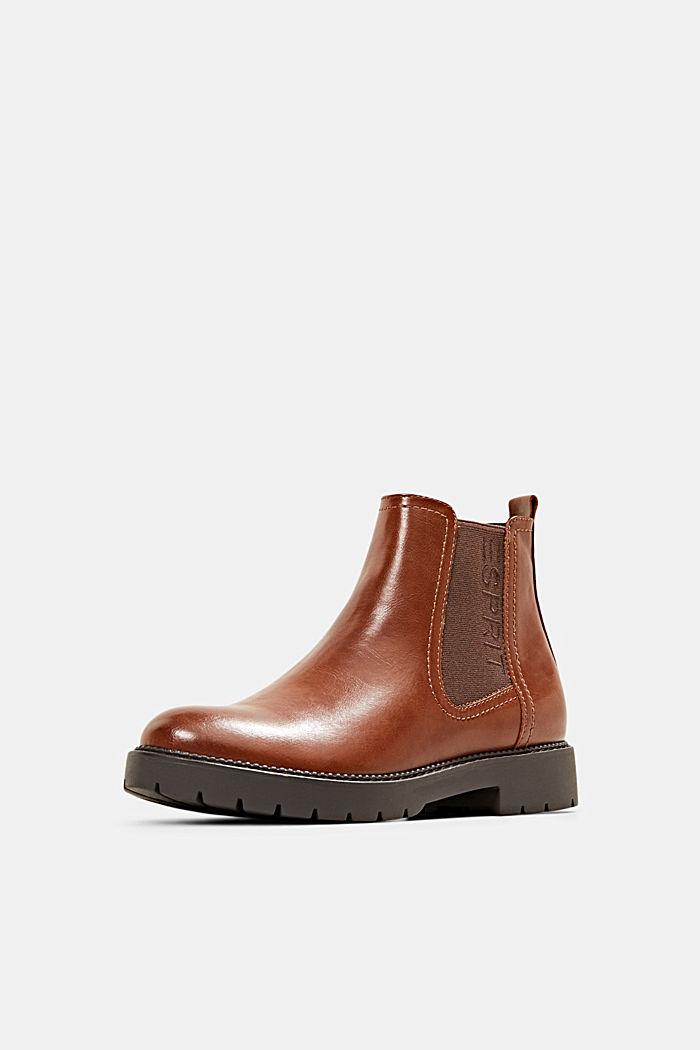 Imitatieleren Chelsea boots met rits, CARAMEL, detail image number 2