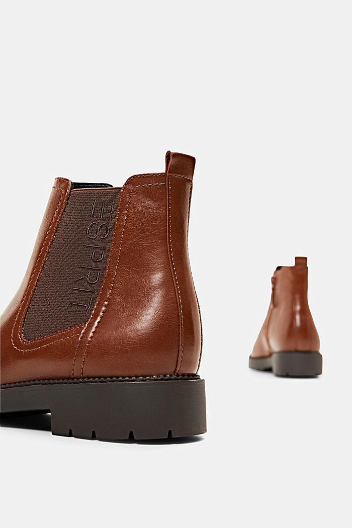 Imitatieleren Chelsea boots met rits, CARAMEL, detail image number 5