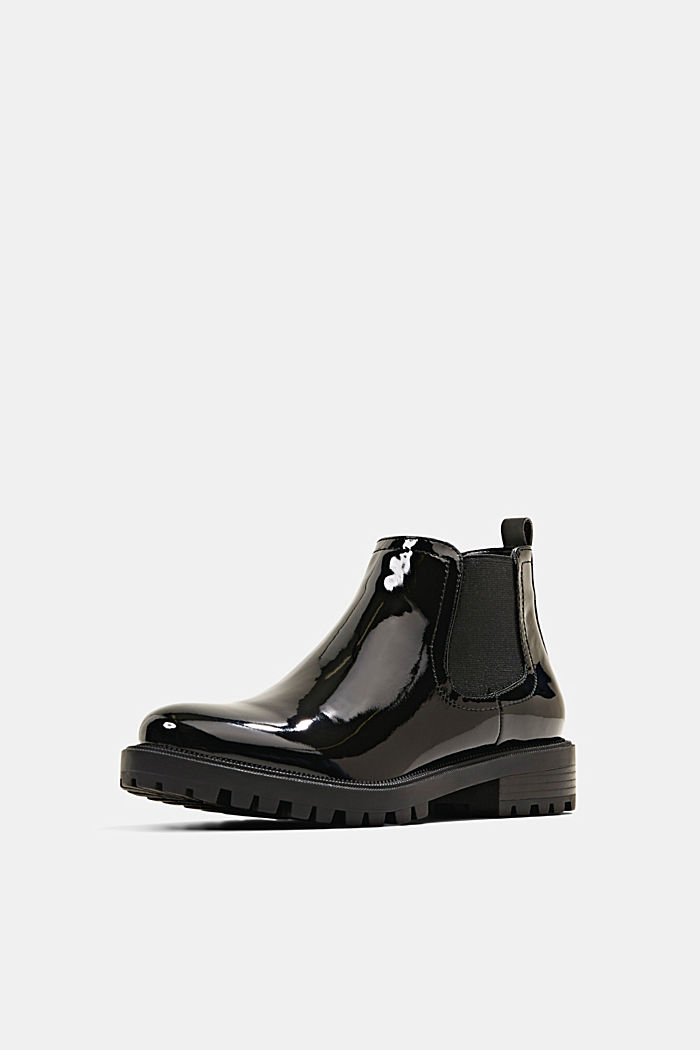 Chelsea-Boots in Lackleder-Optik, BLACK, detail image number 2