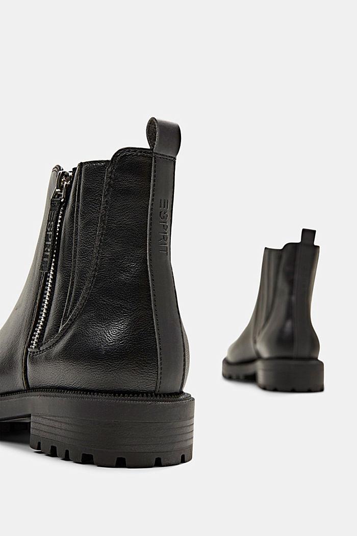 Bottines à zip en similicuir, BLACK, detail image number 5