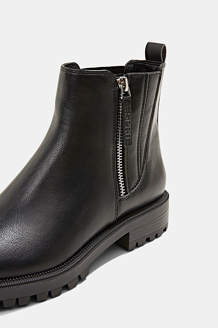 Bottines à zip en similicuir, BLACK, detail image number 4