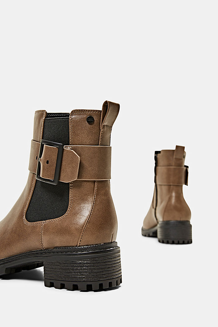 Laarzen van imitatieleer met gespdetail, TAUPE, detail image number 4