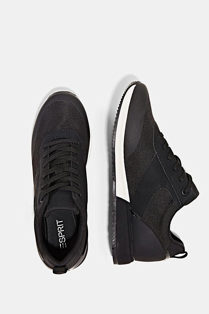 Sneakers met de look van hardloopschoenen, BLACK, detail image number 1