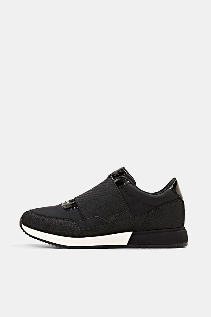 Trainers with an elastic strap in faux leather, BLACK, detail image number 0