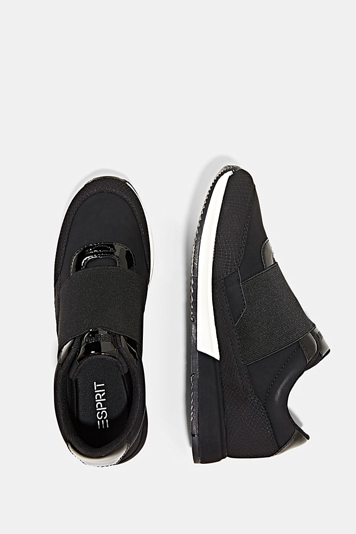 Trainers with an elastic strap in faux leather, BLACK, detail image number 1