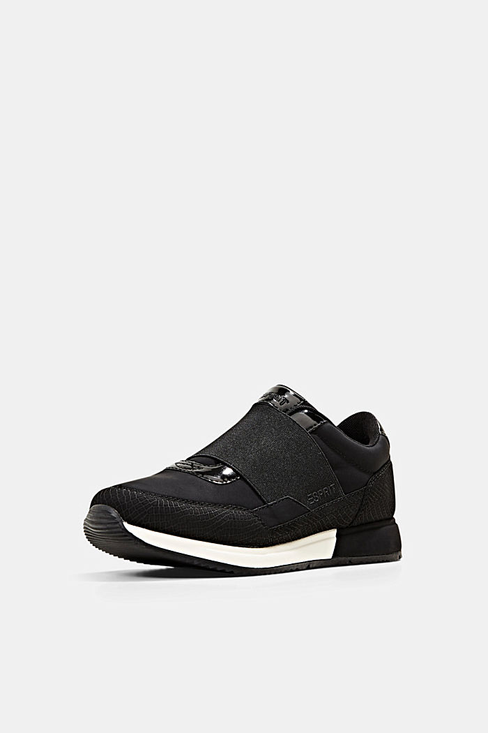 Trainers with an elastic strap in faux leather, BLACK, detail image number 2