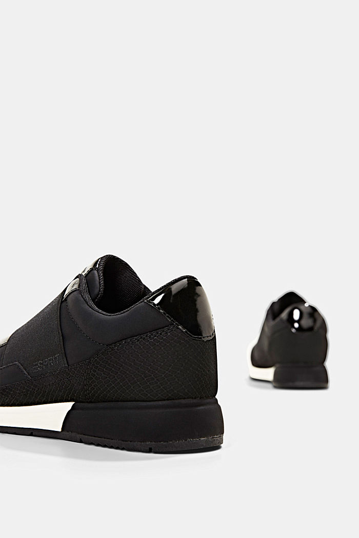 Trainers with an elastic strap in faux leather, BLACK, detail image number 5