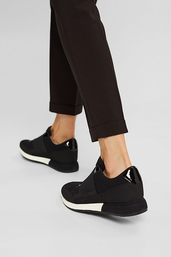 Trainers with an elastic strap in faux leather, BLACK, detail image number 6