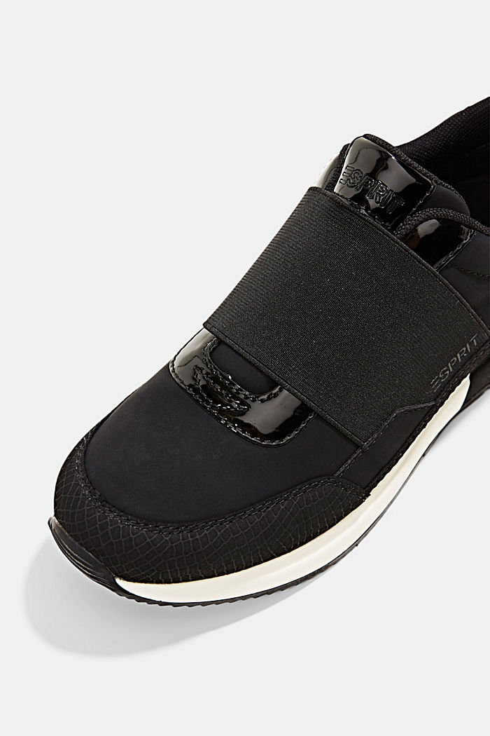 Trainers with an elastic strap in faux leather, BLACK, detail image number 4