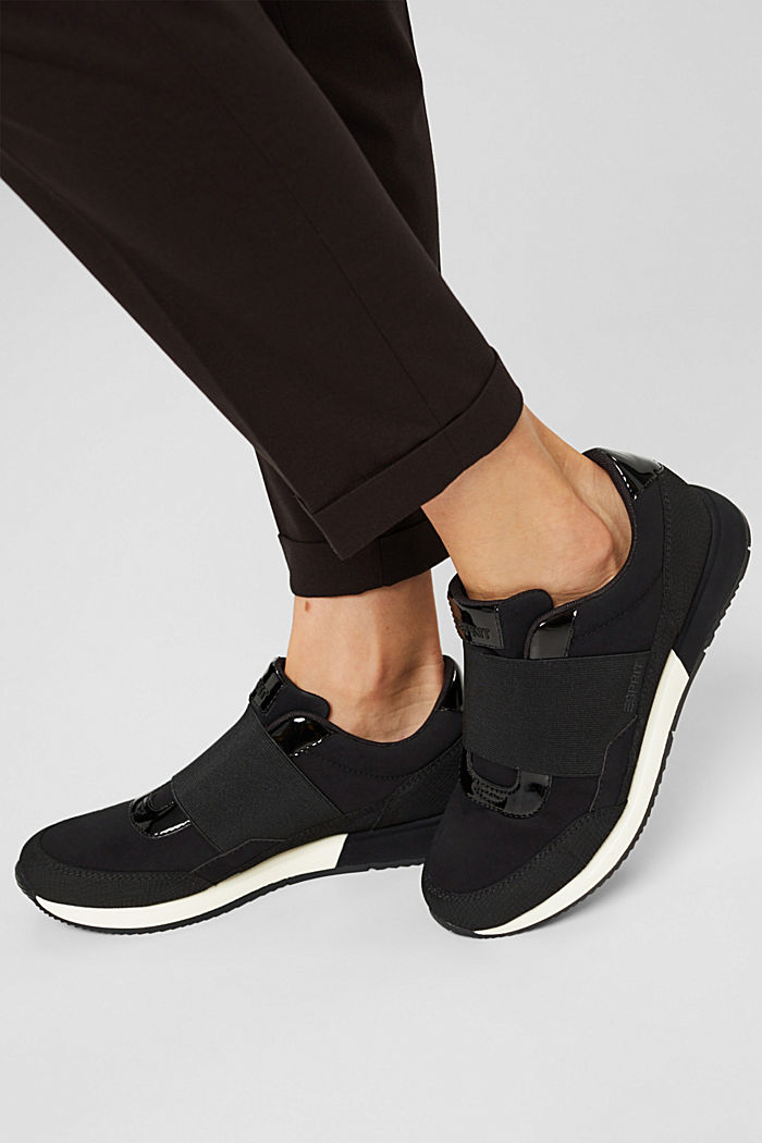 Trainers with an elastic strap in faux leather, BLACK, detail image number 3