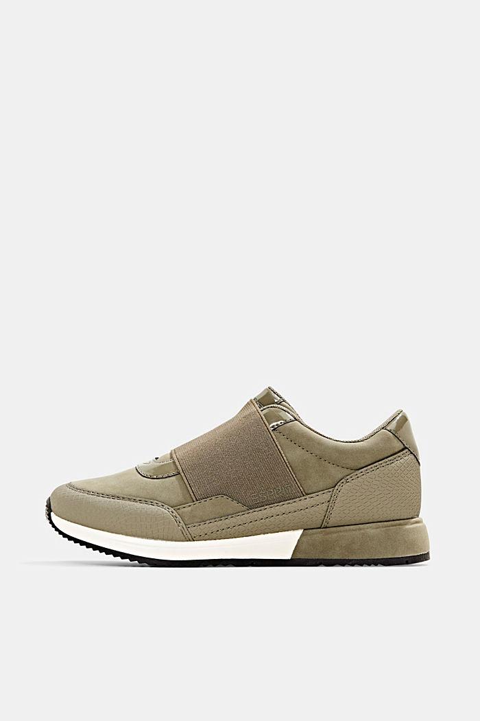 Sneakers à élastique en similicuir, KHAKI GREEN, detail image number 0