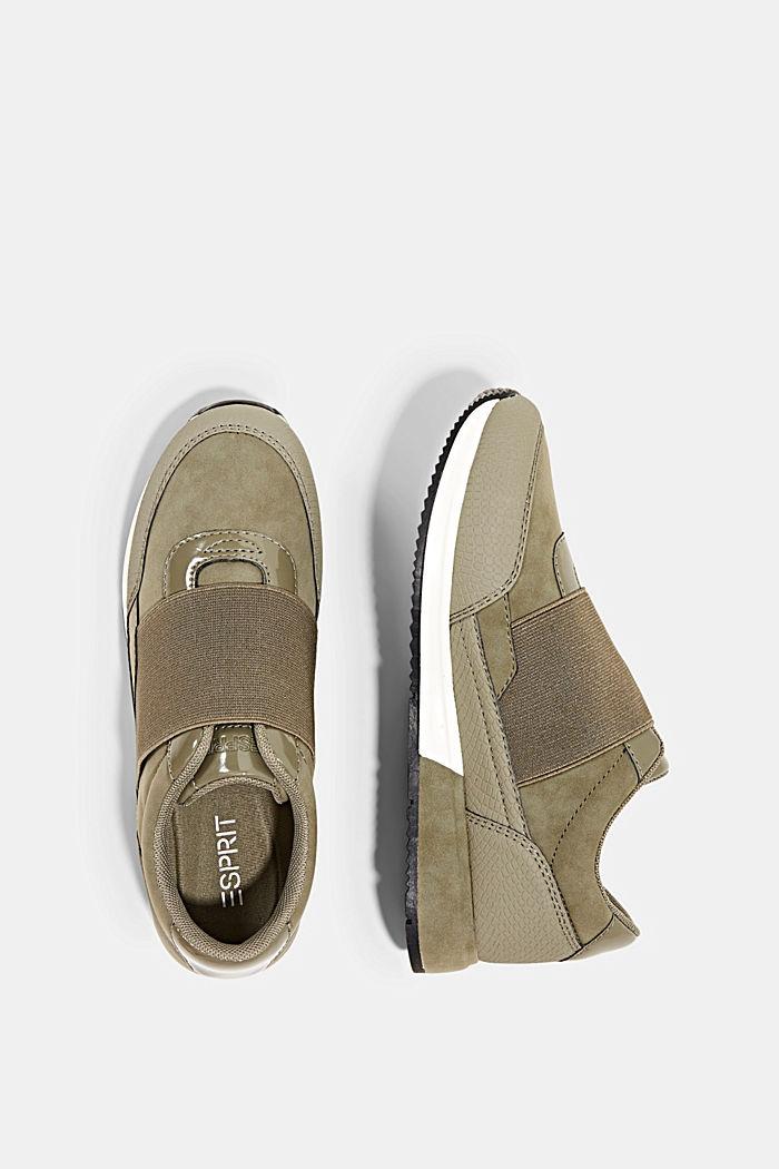 Sneakers à élastique en similicuir, KHAKI GREEN, detail image number 1