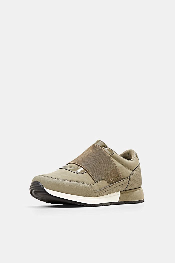 Sneakers à élastique en similicuir, KHAKI GREEN, detail image number 2