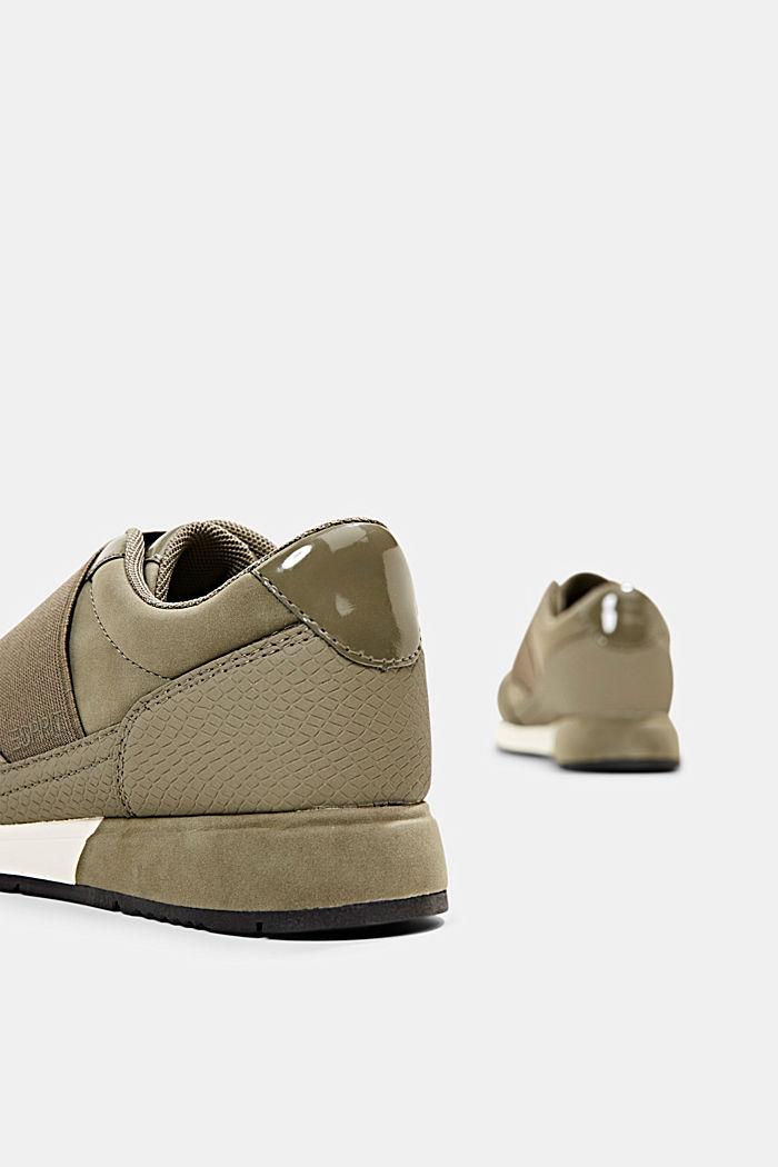Sneakers à élastique en similicuir, KHAKI GREEN, detail image number 5