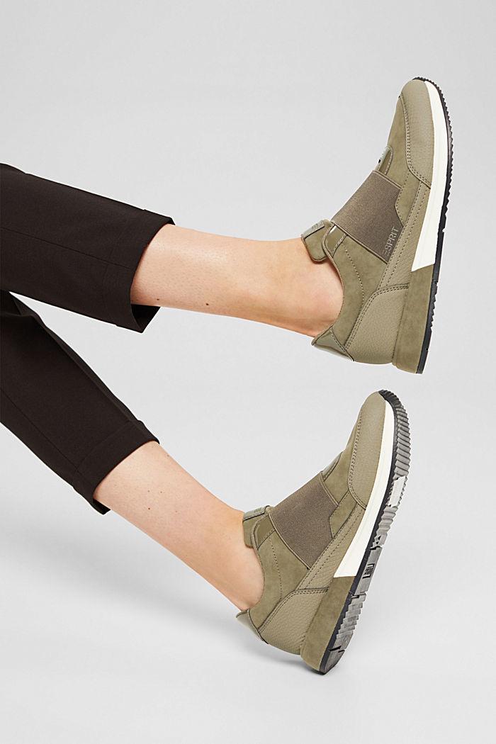 Sneakers à élastique en similicuir, KHAKI GREEN, detail image number 6