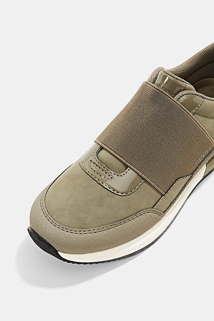 Sneakers à élastique en similicuir, KHAKI GREEN, detail image number 4