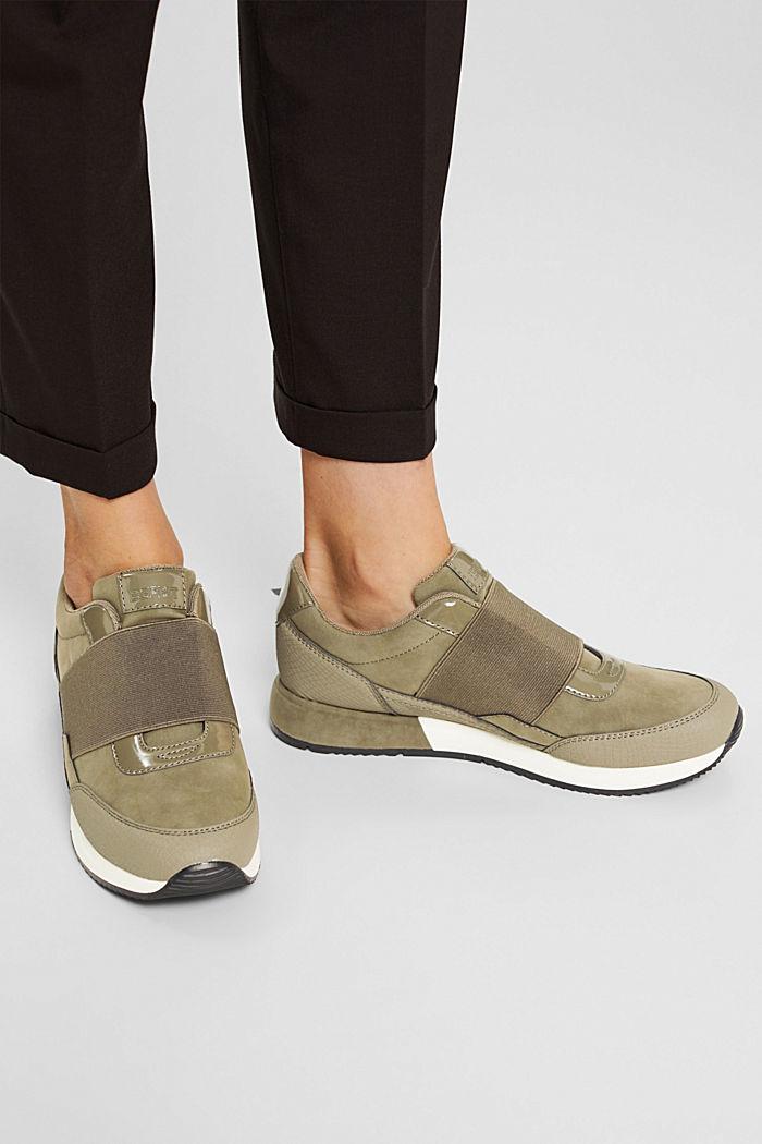 Sneakers à élastique en similicuir, KHAKI GREEN, detail image number 3