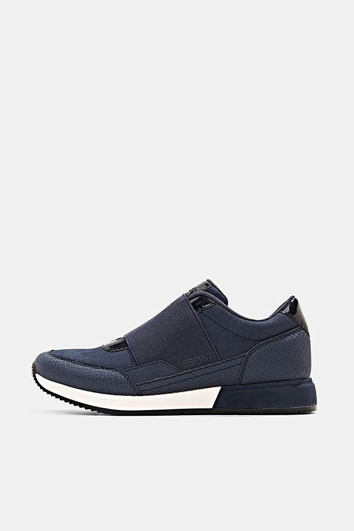 Sneakers mit Gummizug in Lederoptik, NAVY, detail image number 0