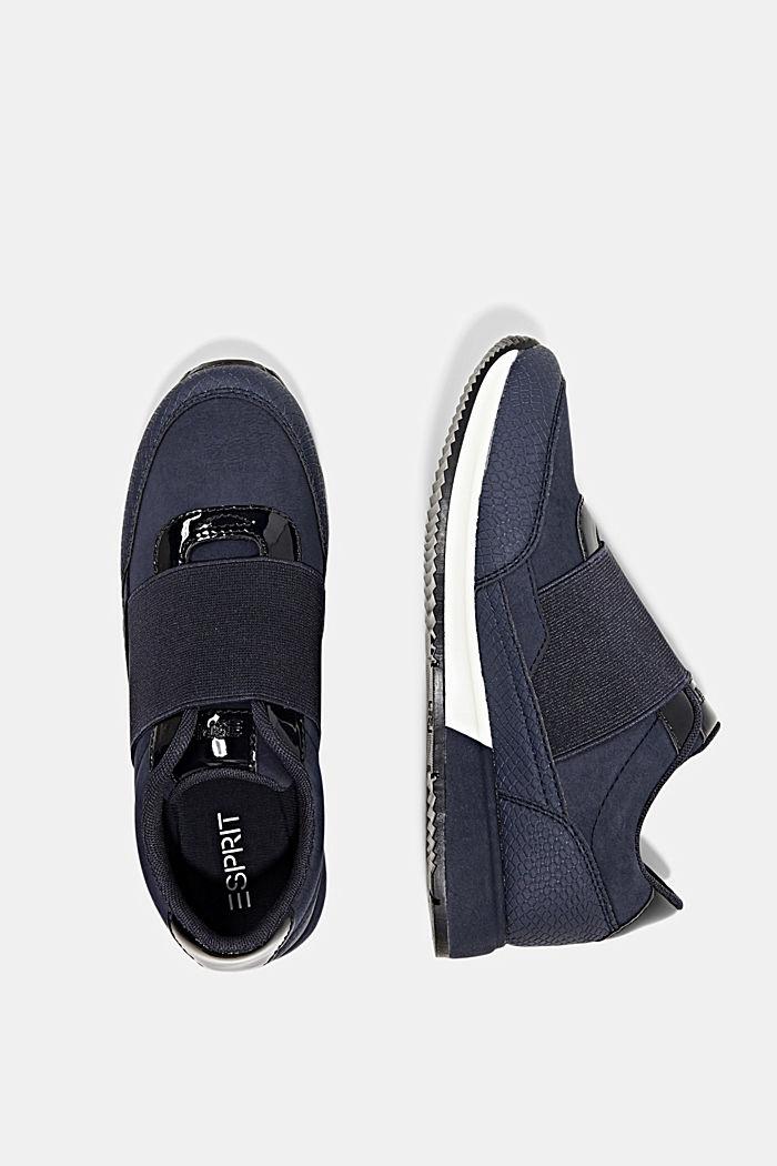 Sneakers mit Gummizug in Lederoptik, NAVY, detail image number 1