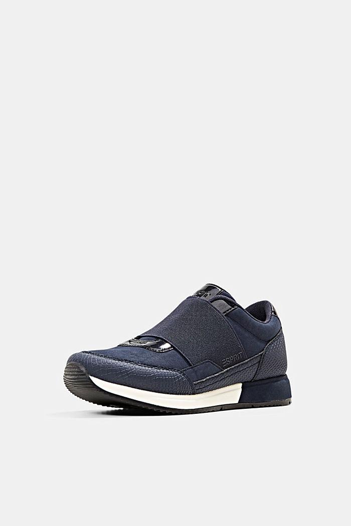 Sneakers mit Gummizug in Lederoptik, NAVY, detail image number 2