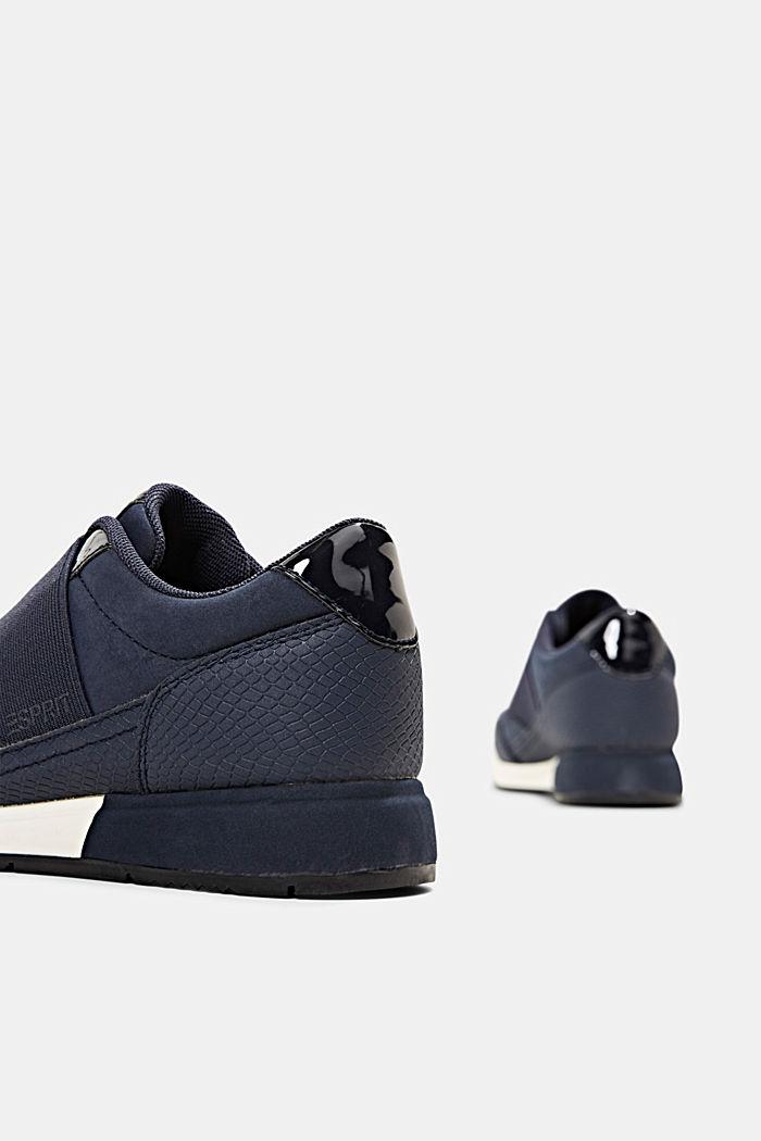 Sneakers mit Gummizug in Lederoptik, NAVY, detail image number 5