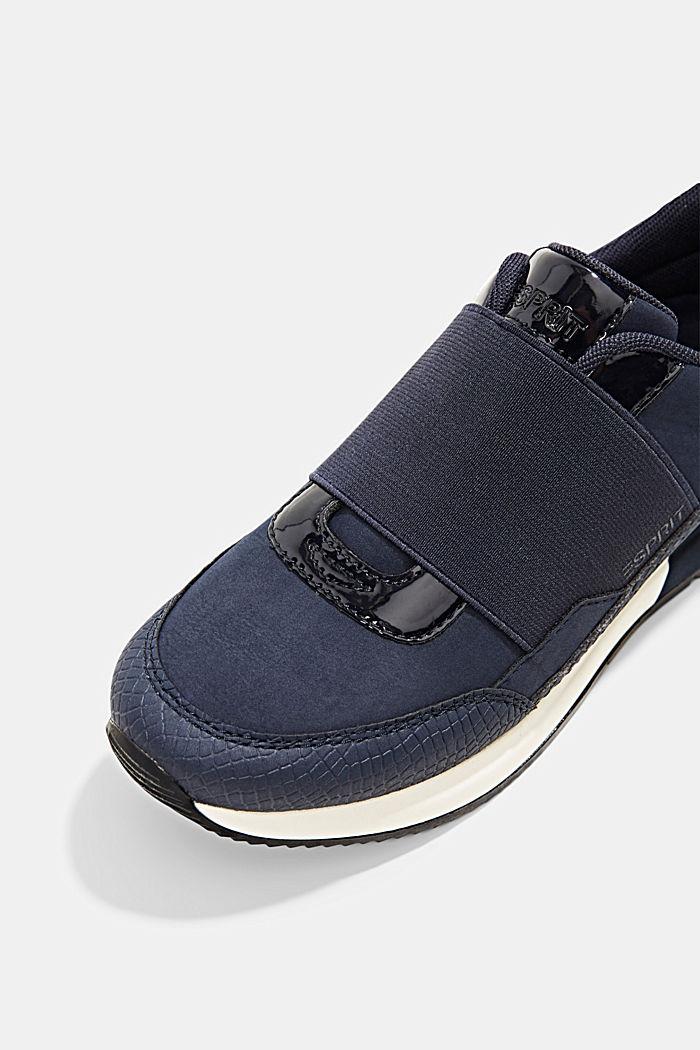 Sneakers mit Gummizug in Lederoptik, NAVY, detail image number 4